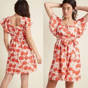 ModCloth Apple Blossom A-Line Dress Size Large